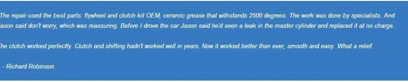 Thurston County Clutch Repair Customer Comments