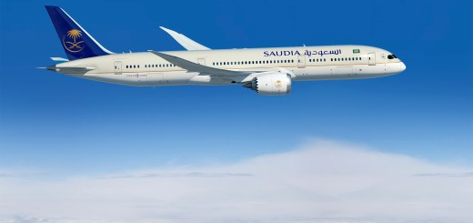 787-9; Saudia; 1st Delivery; air to air; left side of plane; above clouds; K66503