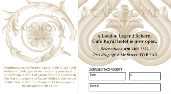 Cafe Royal - Taxi Receipt Pads