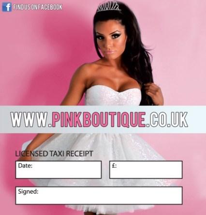 Pink Boutique Taxi Receipt