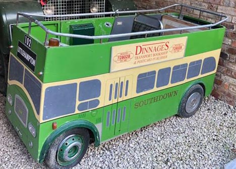 a ride-on model of the Southdown Queen Mary PD3 which used to be seen at running days like the big Southsea Rally and Littlehampton Bus Running Day.