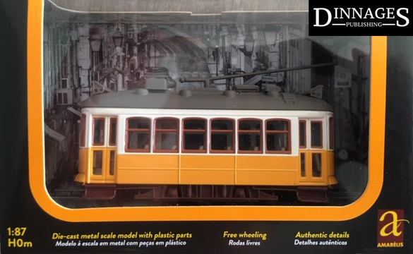 The yellow Carris model tram in HO 1:87 scale available from Dinnages