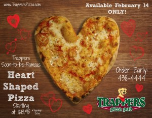 Trappers Heart Shaped Pizza
