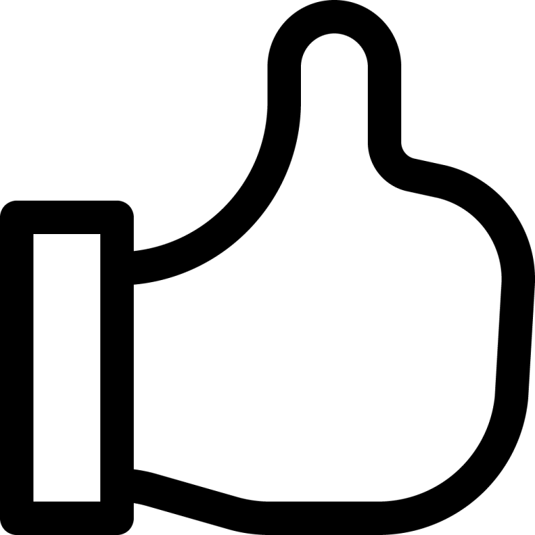 black thumbs up outline