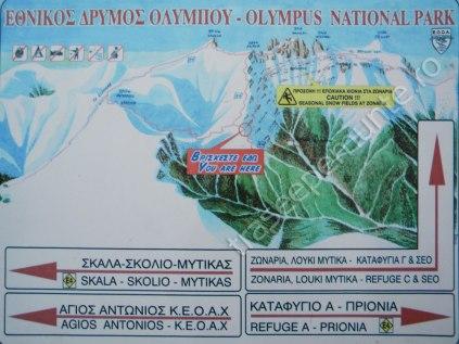Harta Muntii Olimp - Grecia. Traseu pe Varful Skala