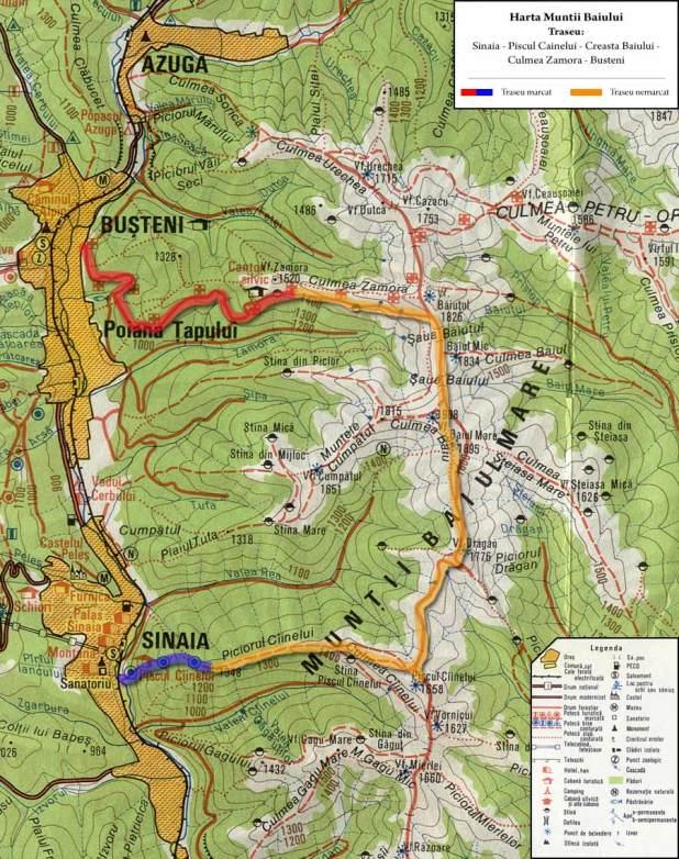 Harta traseu creasta Baiului