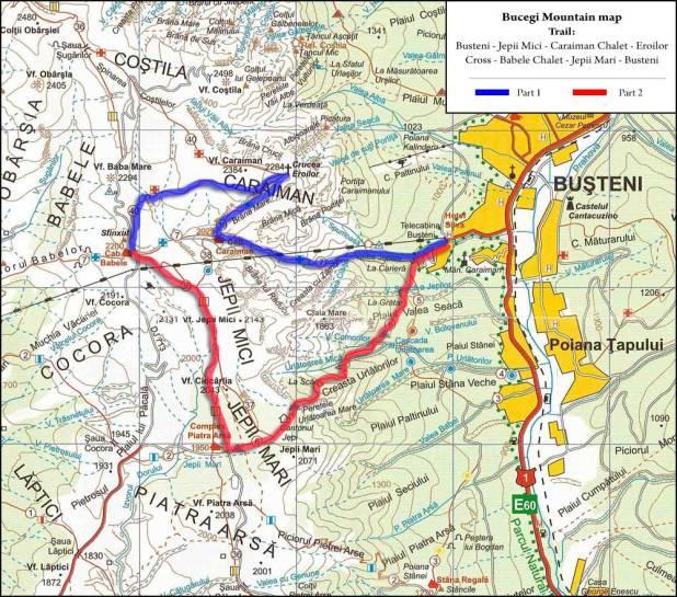 Bucegi Mountain map