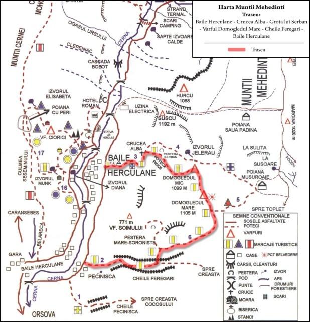 Harta turistica Muntii Mehedinti