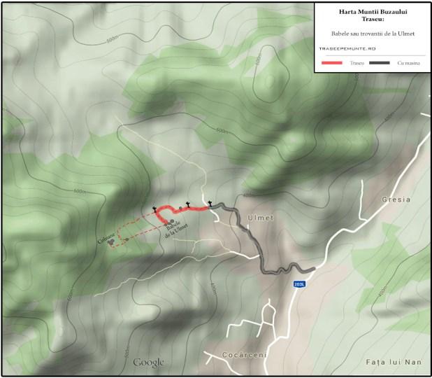 Harta Muntii Buzaului, Masivul Ivanetu - Babele de la Ulmet