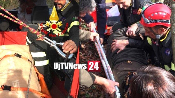 Cacciatore cade in un dirupo a Panicale, salvato dai Vigili del fuoco, è ferito
