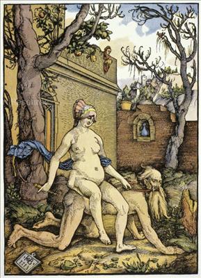 Xilografía de Hans Baldung Grien, La Belleza hostiga con su fusta a la sabiduría, de 1513.
