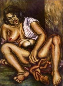 Madona del silencio Óleo sobre lienzo s.f. Tomado de: http://humanoymundano.blogspot.com/2014/06/arte-bajo-el-terror-vi-debora-arango.html