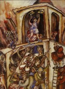 Masacre del 9 de abril Acuarela 1948 Tomada de: http://humanoymundano.blogspot.com/2014/06/arte-bajo-el-terror-vi-debora-arango.html