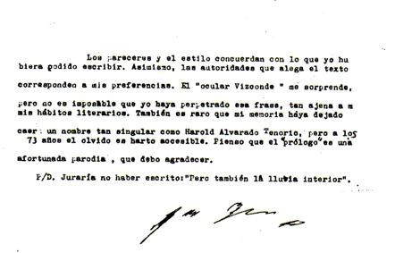 Nota con la cual Borges pone en duda l autoría del falso prólogo al primer libro de Alvarado Tenorio. Luego el mismo autor colombiano ratificó que fue una patraña.