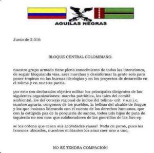 Panfleto con el cual supuestos integrantes de un grupo llamado Águila Negras amenaza a los activistas contra la minería en el Tolima, departamento vecino a Quindío. Autoridades investigan veracidad del comunicado.