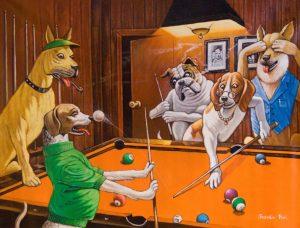 """Arthur-Sarnoff, """"Perros jugando pool""""."""