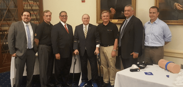 L-R: Joseph Sakran, MD, FACS, Leonard Weireter, MD, FACS, Lenworth Jacobs, MD, FACS, Representative Steve Scalise (R-LA), John Armstrong, MD, FACS, Mark Gestring, MD, FACS, and Jack Sava, MD, FACS