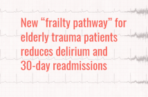 """New """"frailty pathway"""" for elderly trauma patients reduces delirium and 30-day readmissions"""