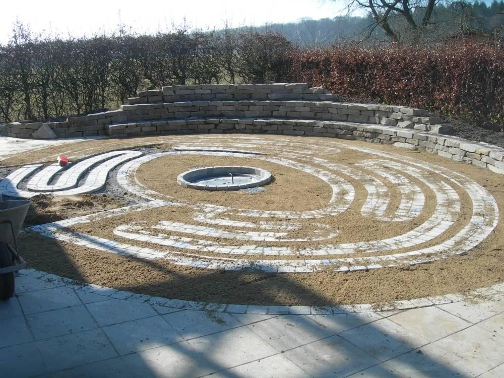 Schulgarten mit Labyrinth und Natursteinmauer