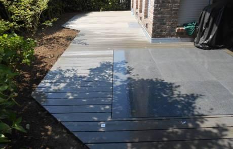 WPC Terrasse mit Naturstein kombiniert