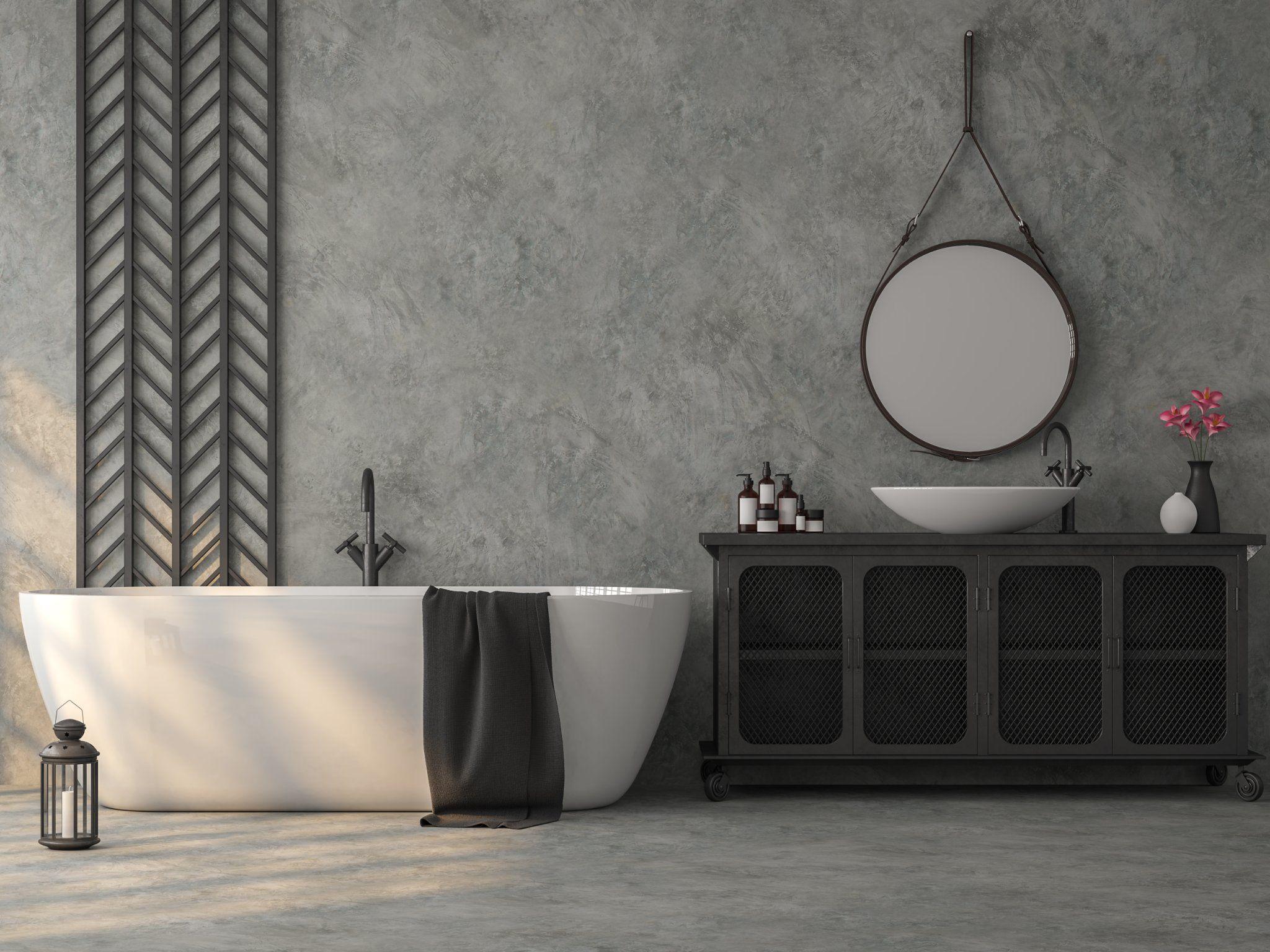 une salle de bains en beton cire est