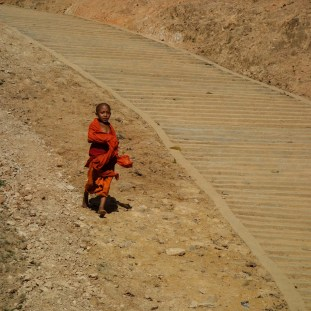 Novice at a hill tribe Buddhist temple between Kengtung and the Chinese border