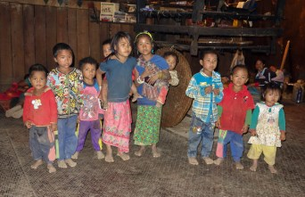 Children in a hill tribe village between Kengtung and the Chinese Border