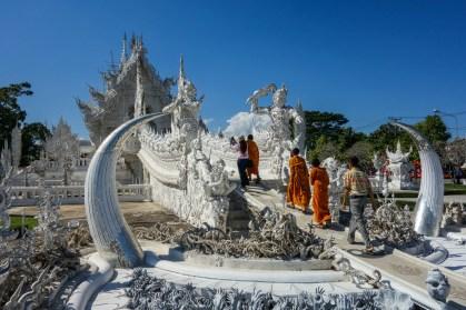 Monks entering the White Temple Chiang Rai - Wat Rong Khun