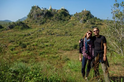 Christian and Maria infront of mountain monestary close to In Dein, Inle Lake, Myanmar (Burma)