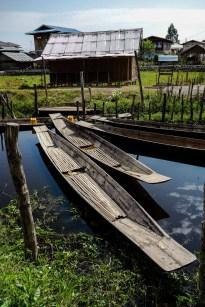 Longboats at the shore of Inle Lake, Myanmar