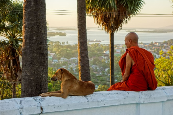 Monk and dog at the U Zina pagoda in Mawlamyine for sunset viewing