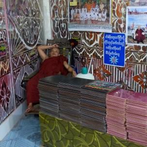 Sleeping monk at the entrance of Win Sein Taw Ya