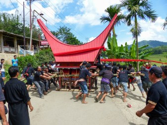 Tana Toraja Funeral Ceremony - the coffin parade finals in turning the deceased round and round Christian Jansen & Maria Düerkop