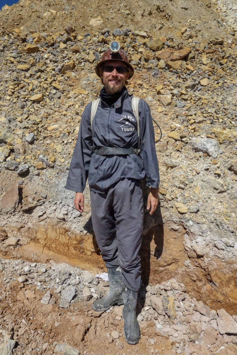 Potosi - Cerro Rico mining tour: Chris is dressed up! Christian Jansen & Maria Düerkop