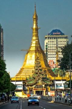 Yangon - Golden Stupa at street crossing Christian Jansen & Maria Düerkop