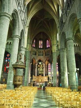 Interior of the Collegiate Church of Notre-Dame in Dinant, Belgium