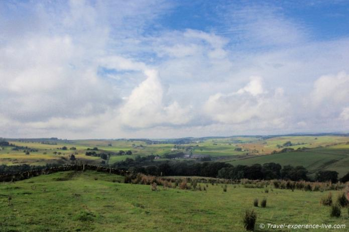 View of the northern English countryside on Hadrian's Wall Path