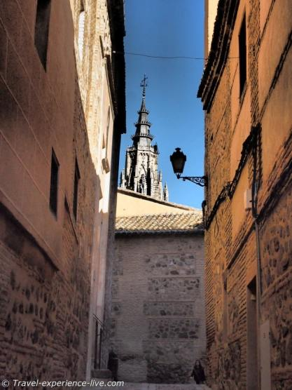 Toledo street and cathedral, Spain