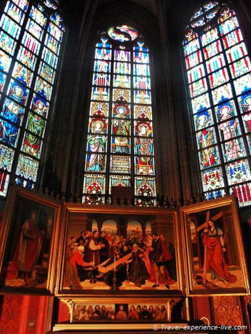 Art inside the Cathedral of Our Lady in Antwerp.
