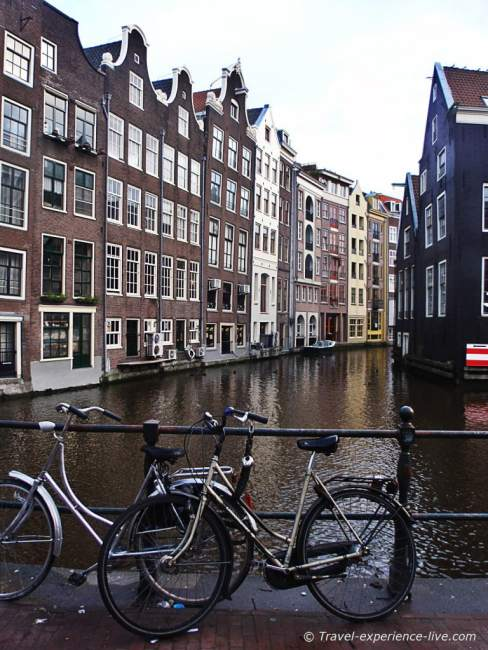 Bikes and canals in Amsterdam.