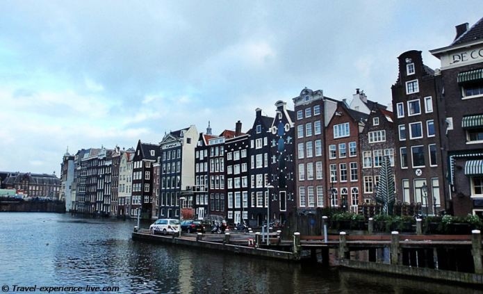Houses near the water in Amsterdam.