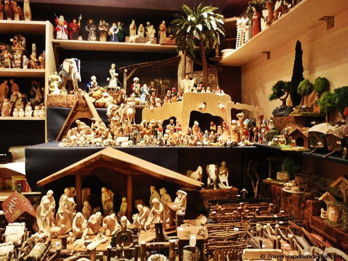 Wooden figures in a Christmas market stall in Cologne