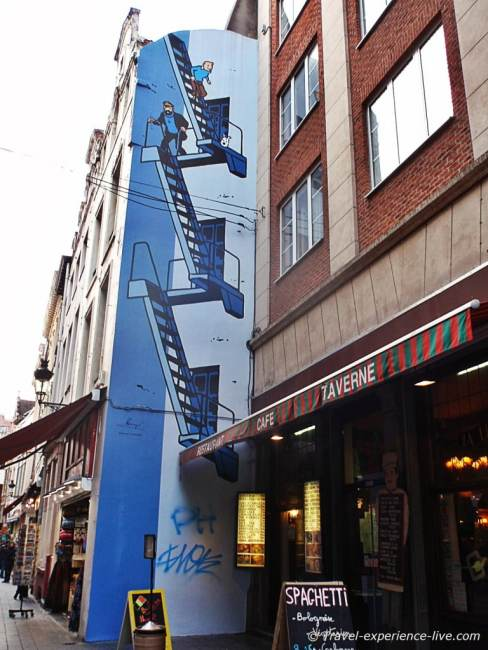 Tintin murals on the Comic book route in Brussels, Belgium