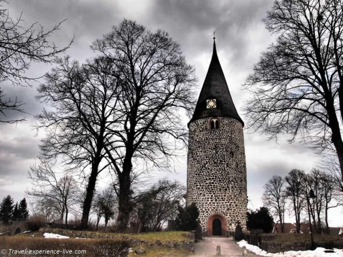 A church tower in a small German village.