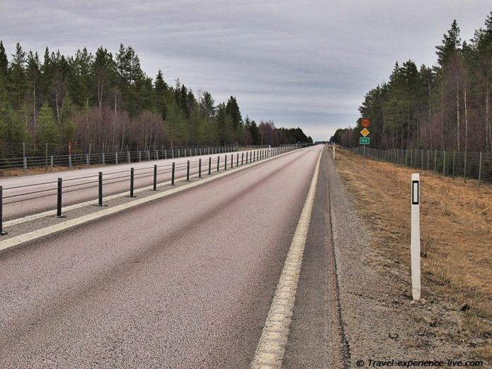 Cycling on the E4, Sweden.