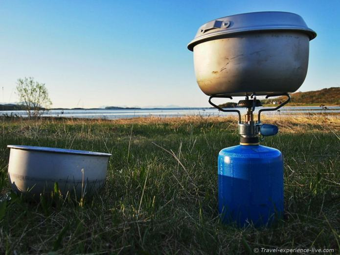 Camping and cooking, Norway.