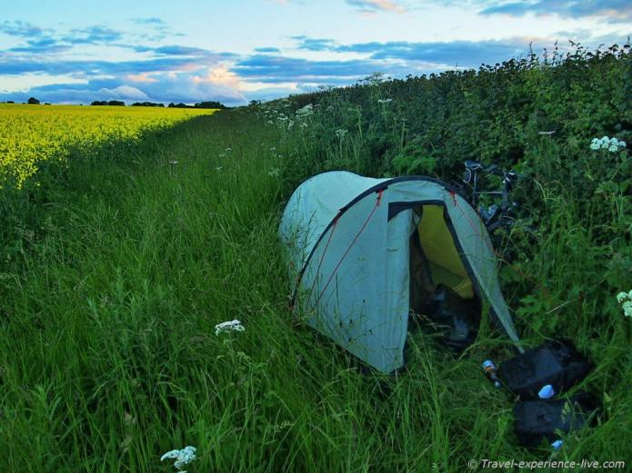 Camping in English field.