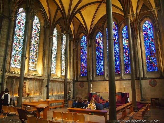 Inside Salisbury Cathedral.
