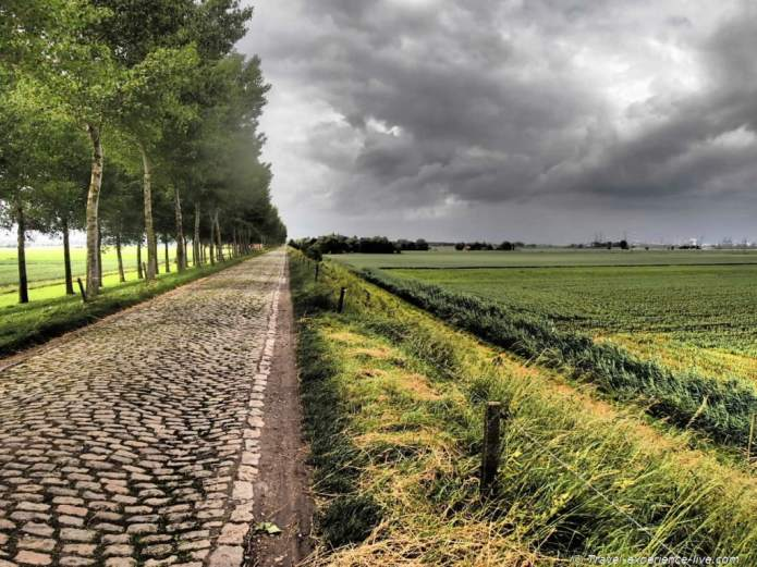 Cobble stone street, not ideal to cycle on.