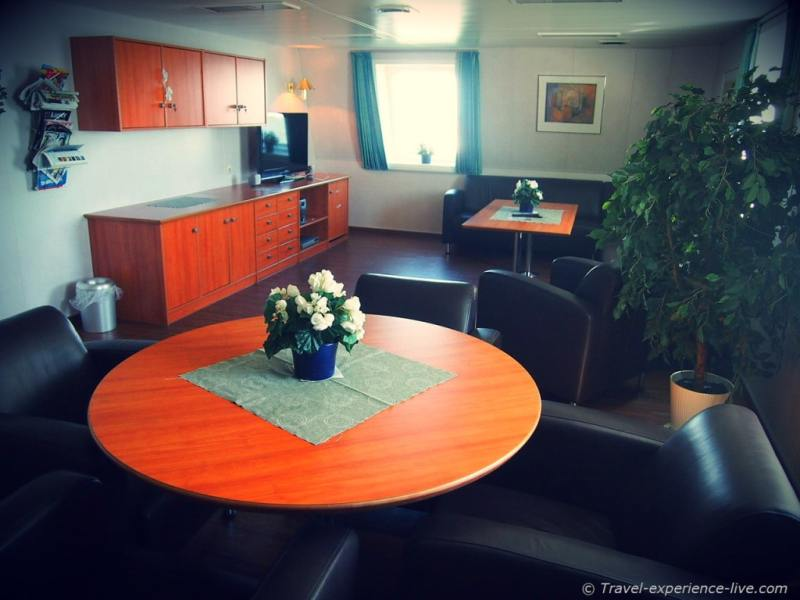 Living room on a cargo ship